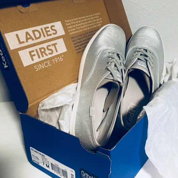 5fa39513a5d Keds Champion Lurex Silver Size W 7 New in Box NWT